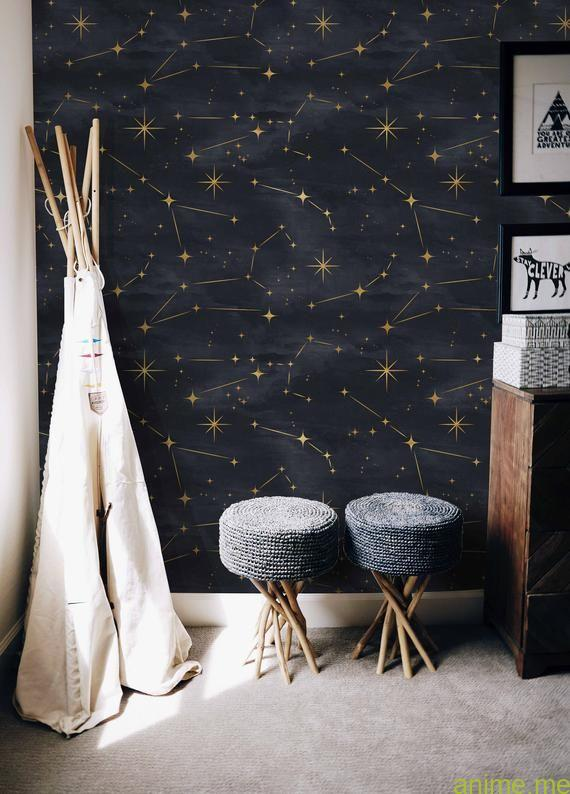 Constellation Wall Mural Starry Evening Detachable Peel Stick Wallpapers House Wallpapers Child S Room Inside Evening Sky Wallpaper Anime Blog