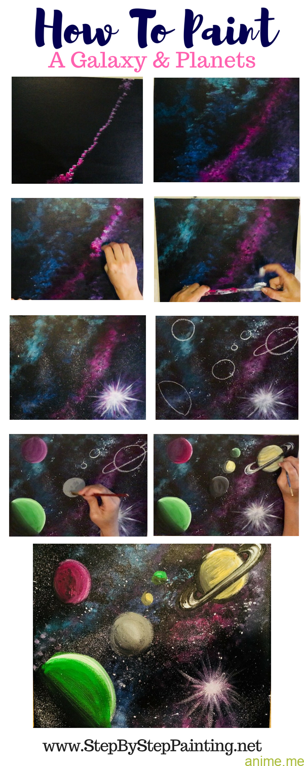 Methods to paint a galaxy in acrylics methods to paint planets in ...