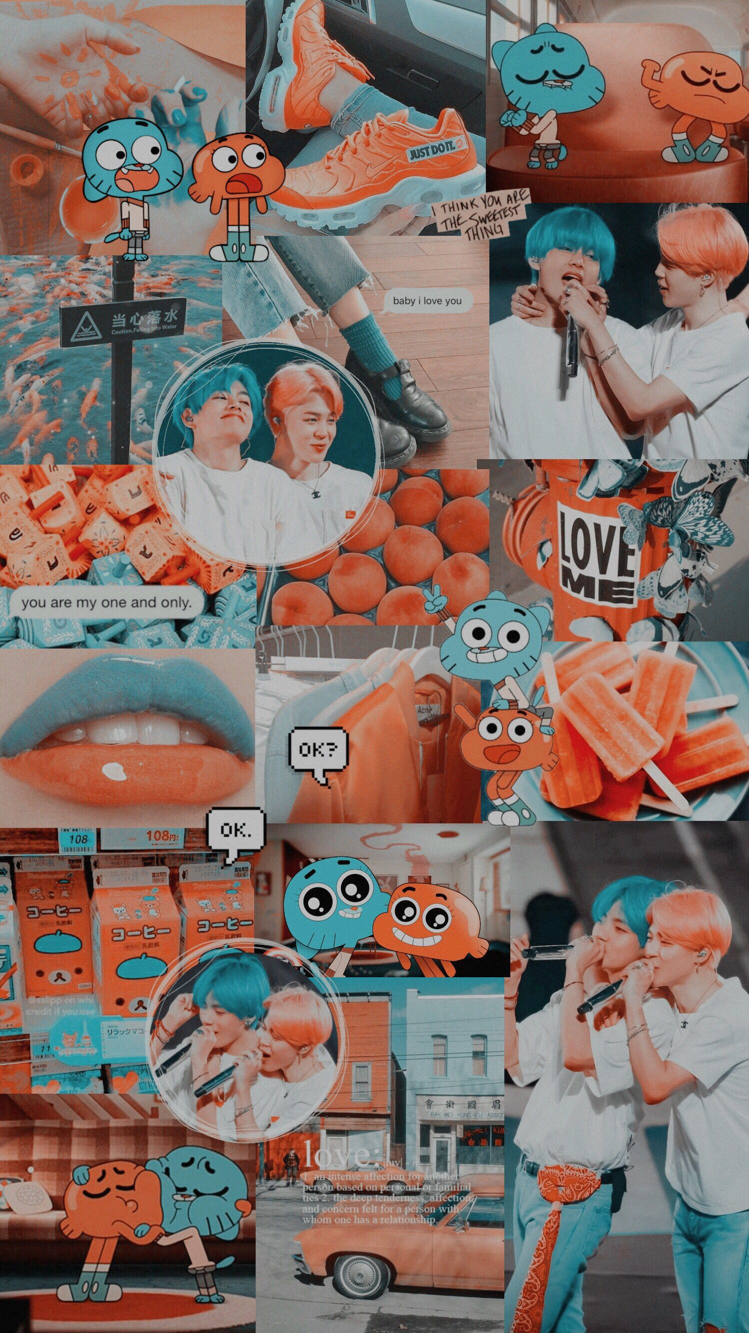Vmin Jimin Taehyung V Wallpaper Bts Lockscreen Darwin Gumball Aesthetic Blue Ora Anime Blog