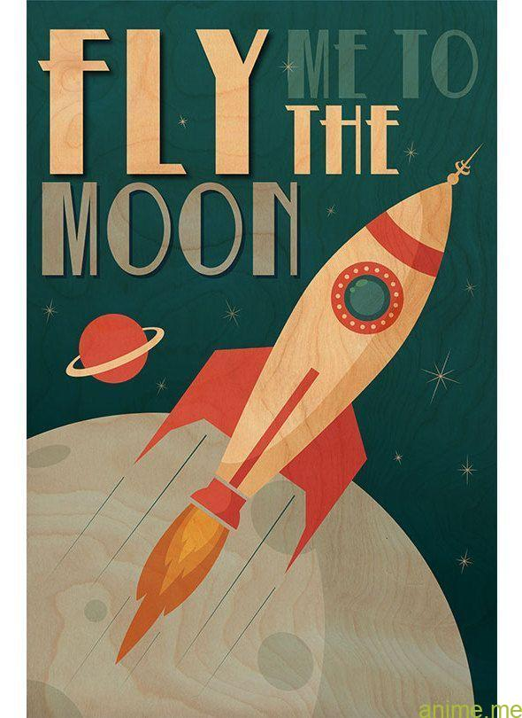 """""""Fly Me to the Moon"""" Printed Wood Wall Art - #Art #fly #moon #Printed #wall #woo..."""